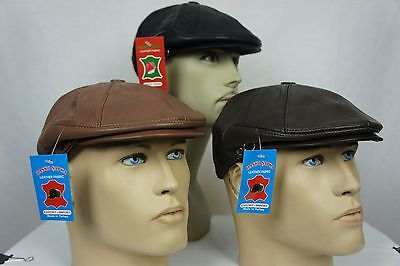 NWT 100% LEATHER Men Gatsby Cap Newsboy Ivy Hat Golf Driving Flat Cabbie S-3XL - Newsboy Hat