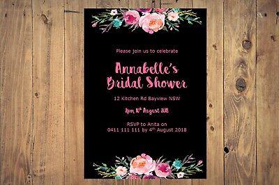 Printable Personalised Bridal or Baby Shower INVITATION - boho floral PINK - Printable Bridal Shower Invitations