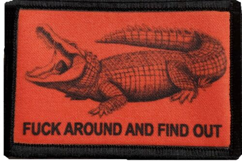 Crocodile F#$k Around and Find Out Morale Patch Military Tactical Army Flag USA