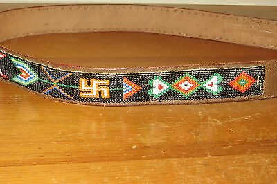 Vintage 1930s Montgomery Ward Rolling Logs 30s Southwest Beaded Leather 38 Belt