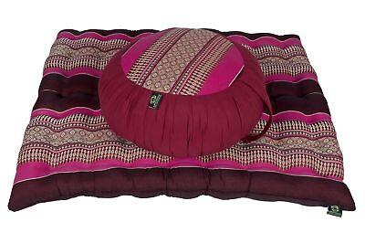 Zafu round Pillow Pouf + Zabuton Mat Meditation Seat Set Natural Kapok Filling for sale  Shipping to Ireland