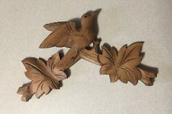 VINTAGE CUCKOO CLOCK BIRD AND LEAVES TOPPER 12 WIDE X 10 1/2 to 11 TALL