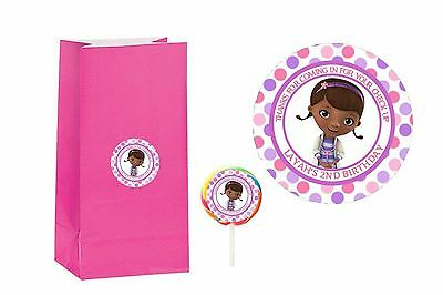 20 Doc McStuffins 2 inch Stickers Party Bag Tags Favors Lollipop - Doc Mcstuffins Party Favor Bags