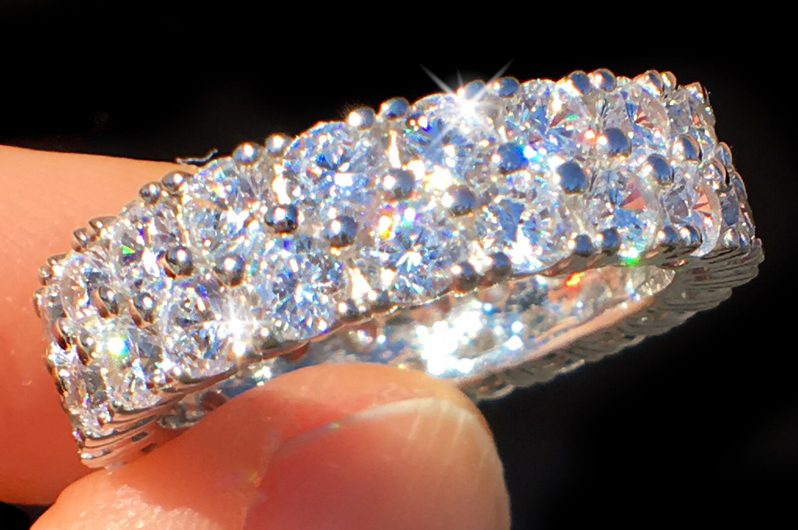 Triple Radiant Cut Ring 2.5 Ct Tw.top Russian Quality Cz Imitation Moissanite 4 Other Fine Rings