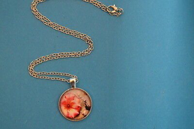 Attractive FLOWER Cabochon PENDANT -  NECKLACE  New!  Jewelry USA SELLER! garden