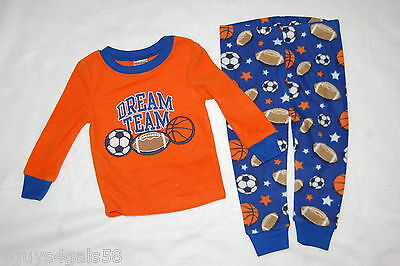 Navy Blue Team Ball - Baby Boys FLEECE L/S PAJAMAS SET Orange Blue DREAM TEAM Sports Ball Game 12 MO