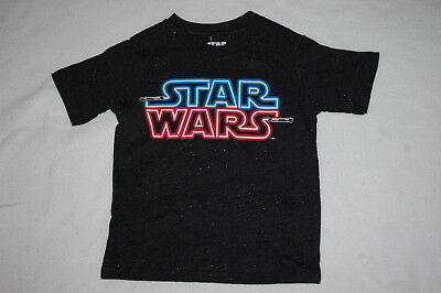 Boys S/S Tee Shirt STAR WARS Glow In The Dark BLACK Speckles XS 4-5 S 6-7 M 8 - Dark Black Teens