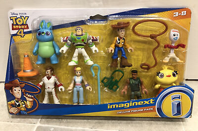 Toy Story 4 Imaginext Deluxe 8 Pack Figure Set Woody Buzz Bo Peep Forky Bunny