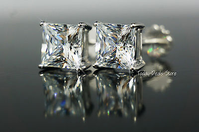 3.5 ct Stud Earrings Princess Cut Real Solid White 14k Gold Screw Back Posts