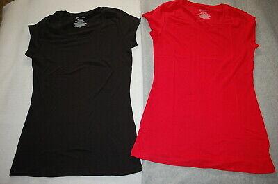 Junior Womens 2 LOT SCOOP NECK T-SHIRT Cap Sleeve BLACK & RED Size XL 15-17