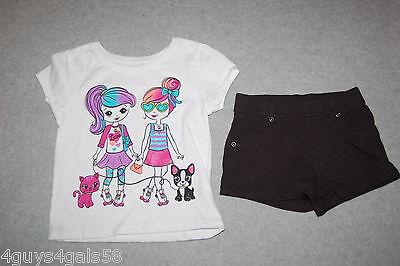 Toddler Girls S/S WHITE TEE SHIRT Fashion Girls DOG CAT Black Knit Shorts 18 MO