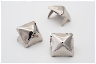 1/2 inch 13mm silver pyramid studs for clothing - Bag of 100 - StudsAndSpikes