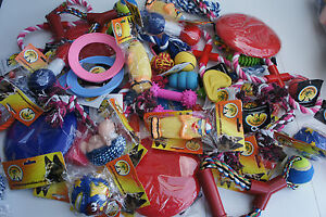 BULK ASSORTED PET DOG SQUEAKY CHEW ROPE BALL RUBBER FETCH TOYS X 24 DOG TOYS