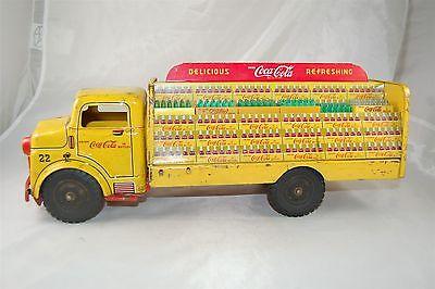 Marx Lumar Coca Cola Coke Yellow Truck with Bottles Pressed Steel