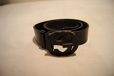 GUCCI MENS BELT BLACK 100-40 MADE IN ITALY DESIGNER FREE SHIPPING LOGO BUCKLE