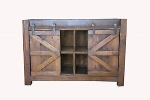 Watson Rustic Reclaimed Wood Barn Doors Bathroom Vanity Middle Shelves