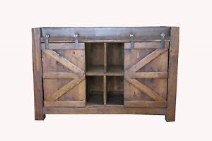 Watson Rustic Reclaimed Wood Barn Doors Bathroom Vanity Middle Shelves