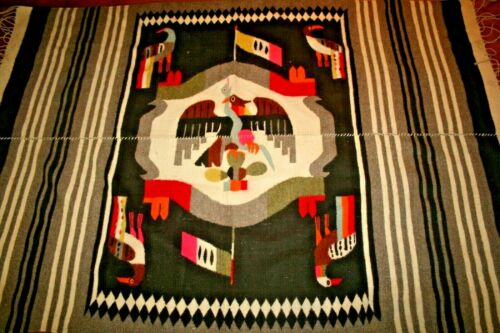 Mexican Aztec Coat of Arms Eagle Blanket Handwoven Native American Thunderbird