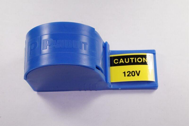 """PLD-36 Panduit Label Roll + Dispenser 200 Labels 1.5"""" x 1"""" Electric Caution 120V"""