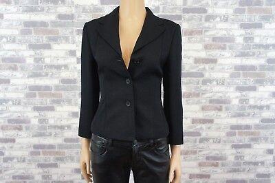 Geprägt Blazer (KULSON Elegante Designer Damen Kurzjacke Schwarz Geprägt Wolle u. Seide Gr. 36)