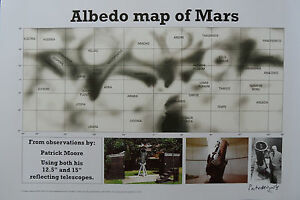 SIR-PATRICK-MOORE-Signed-Ltd-Edition-17X12-Print-ASTROLOGY-ALBEDO-MARS-MAP-COA