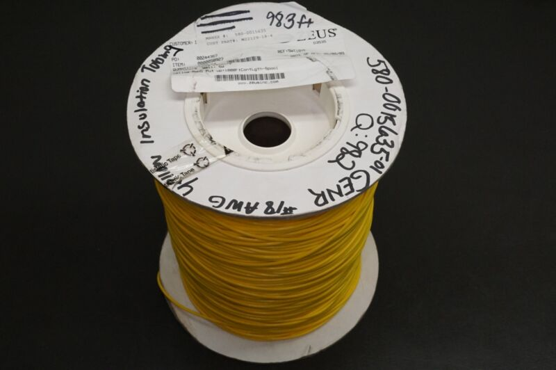 M22129-17-N Zeus PTFE Insulating Tubing Extruded 18AWG Yellow 982