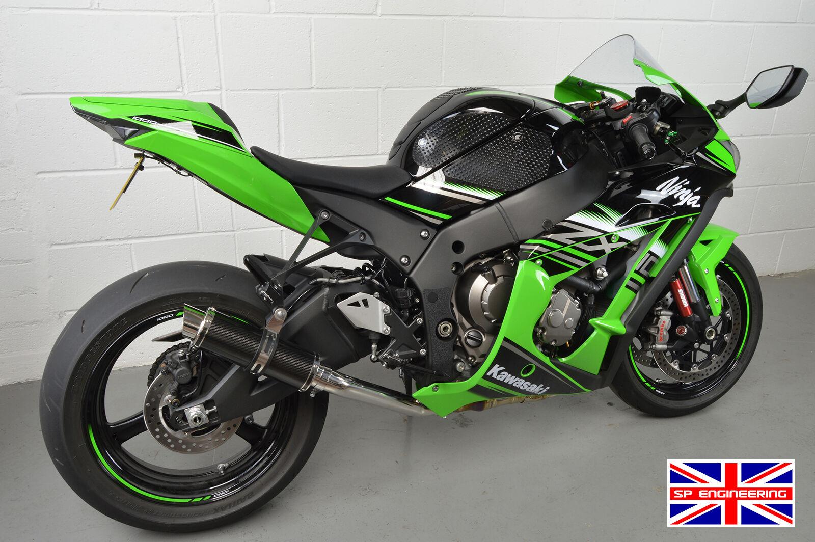 Kawasaki ZX9R Exhaust 94-97 B SP Engineering Carbon Fibre Round Stubby Moto GP