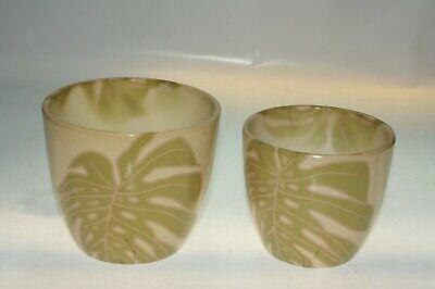 2 Glazed Palm Leaf Design Ceramic Display Plant Flower Pots Heights 13cm & 12cm