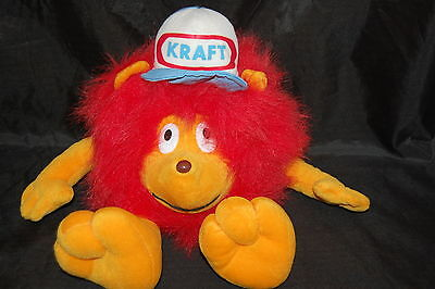 "Kraft Merch Madness Lion Baseball Cap Advertising Vtg Red Orange Plush 12"" Toy"