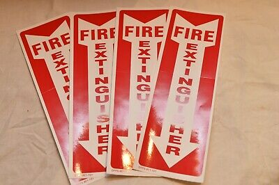 Lot Of 4 Self-adhesive Vinyl 4x12 Fire Extinguisher Arrow Signs..new