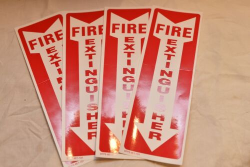 "(4) SELF-ADHESIVE VINYL (4""X12"") ""FIRE EXTINGUISHER ARROW"" SIGNS..NEW"