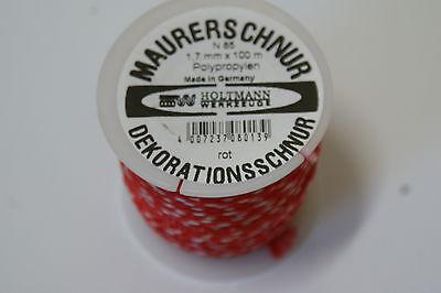 Fliesenschnur 1,7mm x 100m, Maurerschnur, Dekorationsschnur, rot weiß, Schnur