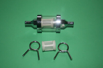TRIUMPH NORTON BSA INLINE GLASS AND CHROME UNIVERSAL FUEL FILTER 14
