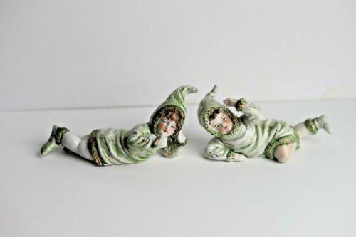 Wonderful Antique German High Glaze Porcelain Snowbaby Children in Snowsuits