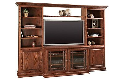 Amish Solid Wood Entertainment Center Traditional Wall Unit TV Console Heritage
