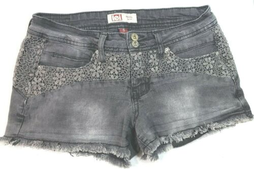 LEI Jean Shorts Ashley Size 5 Black Lace Overlay Low Rise Zipper Pockets Casual