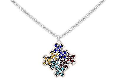 Autism Awareness 4 Color Puzzle Piece Crystal Earring & Necklace Set (Puzzle Piece Necklace Set)
