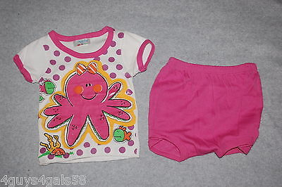 Baby Girls Outfit S/S KNIT TEE White OCTOPUS SEA CREATURES Pink Bloomers 0-6 MO - Octopus Outfit