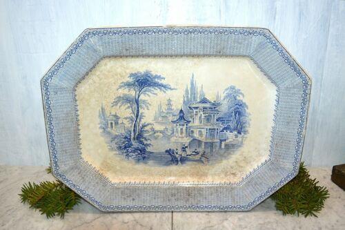 "Antique English John Ridgway Alladin Blue Transferware Platter Extra Large 19"""