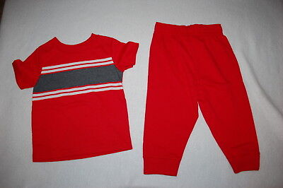 Baby Boys Outfit RED GRAY WHITE S/S TEE SHIRT Knit Pants w/ Ribbed Cuffs 12 MO Baby Rib S/s T-shirt