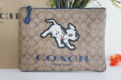NWT Coach X  Disney 91247 Signature Canvas With Dalmatian Large Pouch $278