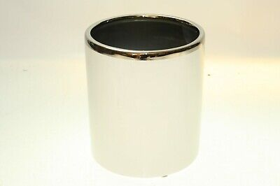 IVYLINE White with Chrome Top Plant Pot In/Outdoor Garden Height 16cm Dia.14cm