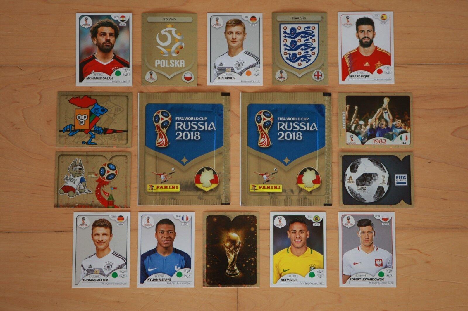 Panini WM World Cup 2018 Russland Sticker auswählen / aussuchen aus fast 682!