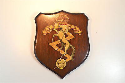 Vintage hand painted mahogany R.E.M.E armorial crest shield wall plaque