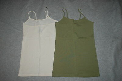 Junior Womens 2 LOT CAMI Tank Top OFF WHITE / CREAM & ARMY GREEN Size S M L XL Army Womens White Tank Top