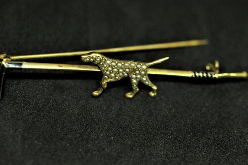 Pearl & Enamel Pointer Dog Hunting 14k Gold Pin Vintage RARE