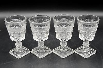 "Set of 4 Vintage Imperial Crystal Cape Cod Pattern 4.5"" Wine Glasses"