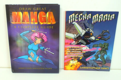 Lot 2 Books, Complete Guide Drawing MANGA, MECHA MANIA - Robots, Spaceships Etc