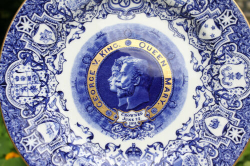 Antique Coalport Plate 1911 Coronation of King George V and Queen Mary Blue