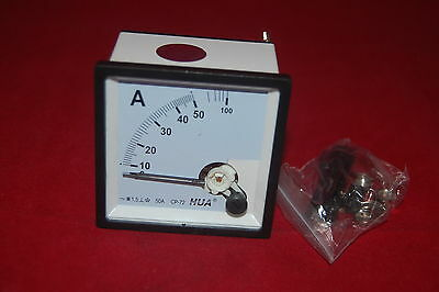 Ac 0-50a Analog Ammeter Panel Amp Current Meter 7272mm Directly Connect